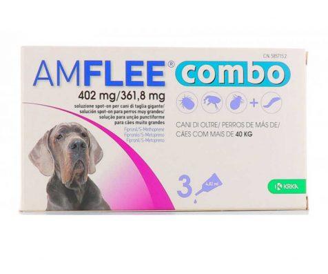 AMFLEE COMBO spot-on solcuione 3 pipette 4,02 ml 402 mg + 361,8mg cani maggiore di 40 Kg